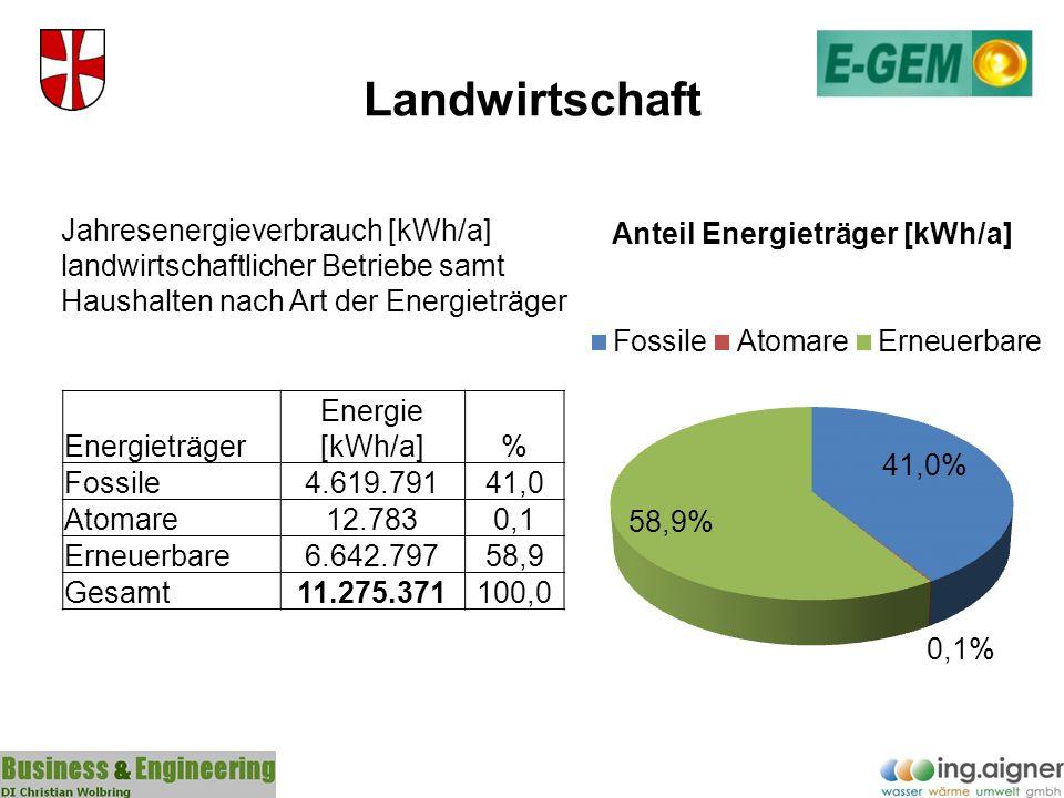 Landwirtschaft Jahresenergieverbrauch [kWh/a] landwirtschaftlicher Betriebe samt Haushalten nach Art der Energieträger.